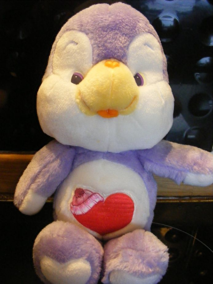"VINTAGE 12"" COSYHEART PENGUIN CAREBEAR COUSIN 80S CARE BEARS"